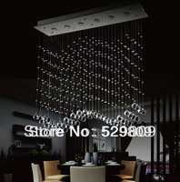 Free shipping L100*W25*H100cm wave design lamps, Modern crystal chandelier lights for dining room