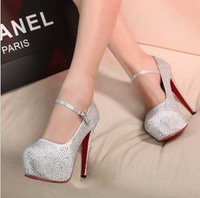 high-heeled shoes13.5cm wedding shoes white red crystal shoes ultra high heels shoes bridal shoes bridesmaid