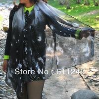 Min order is usd15 Free Shipping High Quality Harajuku Tone  Fashion Galaxy Printed Women's Grey Cotton Tube Shawl