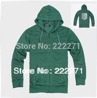 FREE SHIPPING Anime Shingeki no Kyojin Attack on Titan Eren Jaeger cosplay costume green Survey corps hoody sleeve hoodies