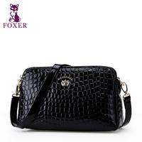 FOXER women messenger bag new 2014 small shoulder bags cowhide handbag famous brand leopard school bag women leather handbags