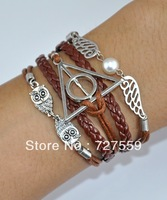 (Min Order $7) Charms Infinity Bangles Antique Silver Karma Harry Porter's Holy Grail & Owl Rope Leather Girl Bracelet Jewelry
