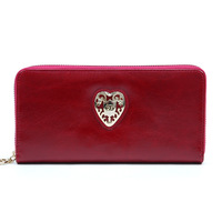 Anais Gvani New Women's Genuine Leather Designer Purse Zip-Around Designer Cheap Wallet with Gold Kissed Heart Accent
