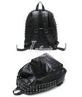 Womens Retro Punk Gothic Rivet Skull Pattern Satchel Backpack Bookbag School Bag
