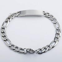 Mens Womens Chain Unisex 6/7.5/8.5mm Figaro Link Stainless Steel Silver Tone ID Bracelet Gift LKBM102
