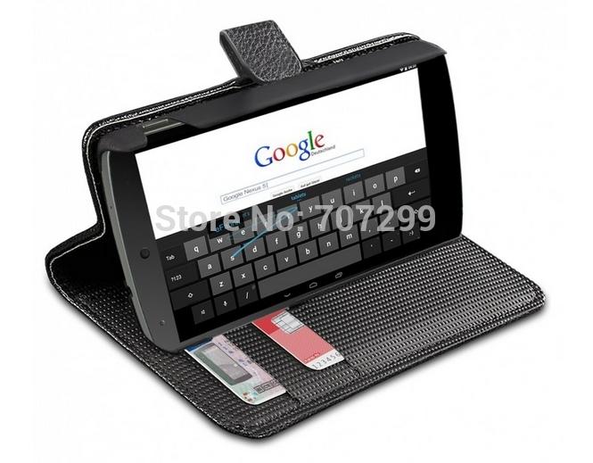 Lichia PU couro fique Wallet virar Case capa para LG Google Nexus 5 Mobile Phone Pouch Bag Slots de cartão titular(China (Mainland))
