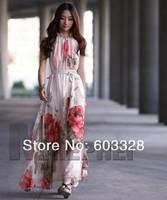NEW 2014 Summer Women Cocktail Chiffon Floral Long Bohemia Maxi Sleeveless Casual Beach Party Dress