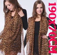 2013 New Arrival Woman Fashion Lepoard Patterm Thin Soft Chiffon Brand Silk Scarf Large Shawl Stole Scarf Ladies Scarve Wrap
