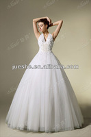 Sexy Deep V Neck Halter Strap Pearls Beaded Cinderella Tulle Ball Gown Wedding Gown Under 200