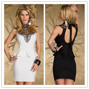 Beauty online New 2014 summer dress Sexy Rare Embroidered High Neck Peplum Dress LC2936