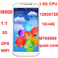Perfect 3G Smart phone i9500 ggalaxy S4 5 inch 1280*720 IPS Android 4.2 MTK6589 Quad Core 1.2GHz 1GB RAM Dual Camera Wifi GPS