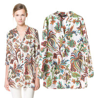 Spring 2014 Three Quarter Sleeve Tropical Plants Floral Print V-neck Womens Blouse Free Shipping