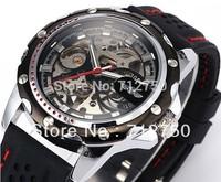 2013 Wholesale Luxury Winner Sport Black Automatic Mechanical Skeleton Wrist Watch for Men Relogio Free Shipping
