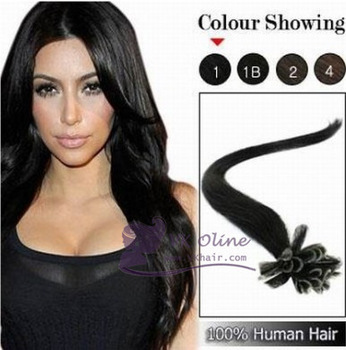 "Freeshipping 18""20""22"" Remy Italian keratin Hair Extension #01-jet black  Nail tip /U-tip Human Hair 0.5/s 100s [Vkhair]"