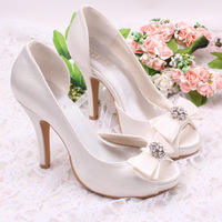 Free Ship 2014 Hot Women Wedding Bridal Shoes Satin Bow Fish Mouth 10CM  Platform High Heel Lady's Pumps