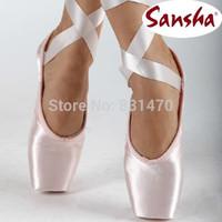 On sale! Excellent craft Sansha crown pink satin dance pointe shoes women ballet toe shoes free shipping
