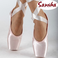 On sale! Excellent craft Sansha crown pink satin dance pointe shoes women ballet toe shoes free shipping