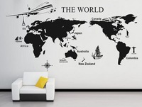 Extra Large World Map Mural Modern Wall Sticker Large Background The World One Piece Decor