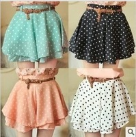 4 Colors Pleated Floral Chiffon Women Ladies Cute Mini Skirt Belt Include