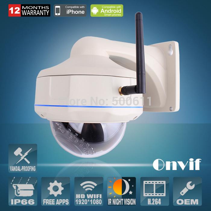 Onvif H.264 2.0 Megapixel 1080P HD 25fps 30 IR Vandalproof Dome Outdoor WIFI Network Wireless IP Camera(China (Mainland))