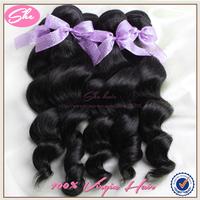 She hair top 7A peruvian virgin hair weaves3pcs free shipping,cheap peruvian loose wave no tangle,best human hair extension