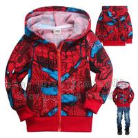 2013 Winter Kids Jackets Youth Boys Hoodies Zip Up Spiderman Red Teen Coats Size 2-8Y