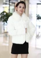 2013 New Arrival Women's Winter Warm Elegant Long Sleeve Rabbit Hair Short Coat White Sent from Russia