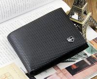 Male short design leather wallet men's wallet purse famous brand men's wallet leather with Flip up ID Window black brown wallet