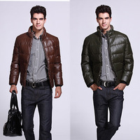 Free shipping men's short paragraph containing 90% duck down jacket high quality PU Men's Jacket