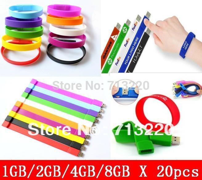 20pcs/lot Wholesales 1GB/2gb/ Bracelet Silicone Wristbands 8g Memory Flash USB Drive4g Pendrive Free Shipment(China (Mainland))