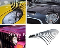 4pairs Cute Curly Black False Eyelashes Sticker,Car Headlight Eyelashes Decorations Accessories - Fits All Car Makes and Models