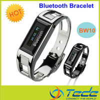 free shipping new arrival bw10 bluetooth watch bracelet headset with OLED caller ID and time vibrating bluetooth bracelet