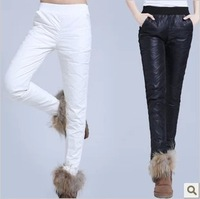 Free Shipping Winter Woman Warm Down Pants Winter Warm Keeper Ladies Trousers Filler White Duck Down Black/White PT-048