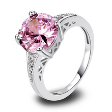 Wholesale 507R8-8 10*10mm Round Cut Pink & White Topaz 925  Silver Ring Size 8  Free shipping