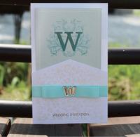 Unique Elegant Design Wedding Invitations with Ribbon Pocket Envelopes With Embllishments Customizable 50 sets