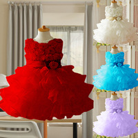 Retail! 2013 New Girls Toddler 3D Flower Tutu Layered Princess Party Bow Kids Formal Dress, girl princess dress, europe dress
