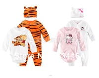 2014 New Brand High quality Baby Clothings 3 Pcs Tigger Print Underwear Romper + Long Pants Jumpsuit+Cute Caps Baby Clothes