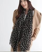 1PC 70*160 CAT & Boutique Designs Long Silk Feel Chiffon Scarves WJ-011
