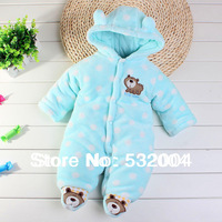 New Arrvial Advanced Flannel Winter Thickening Baby Clothes Bear Baby Romper Cotton Newborn Clothes Soft Outerwear High Quality