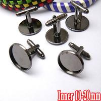 50pcs Wholesale Gunmental Plated Cufflink Base W/Inner 10-20mm Cameo Cabochon Setting Disc Tray Cuff links Bezel Blank