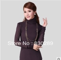2013 Hitz high collar bottoming shirt long sleeve mesh warm lady fashion Slim Women