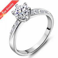 1 PIECE OK  Free Shipping Engagement  Platinum Plated Elegant Sterling Silver 925 Women ring Cubic Zirconia Imitation Diamond