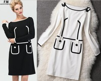Women Dresses New 2014 Brief Casual Bodycon Dress Black And White Bandage Dress Knee-Length Long Sleeve Block Cotton AW13D014