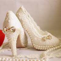 2013 Aesthetic Crystal Pearl Shoes, Wedding Pumps, Bridal Shoes, White Wedding Lace Shoes, EU35-43, 3.5CM to14CM, Free Shipping