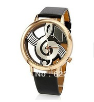 2014 relogio women ladies Analog watch Novelty Hollow Musical Note Style Sample Fashion Watch with Leather strap wrist watch