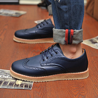 2014 Vintage Navy BlueMen's Genuine Leather Shoes Business Dress Oxfords platform casual Italy brand creepers shoes for men