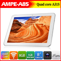 New Arrival In Stock 8inch Ampe A85 Quad core Allwinner A31S Tablet PC1GB RAM 8GB ROM Android 4.1 dual camera WIFI HDMI OTG