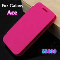 20pcs/Lot Flip leather remove back cover case original battery housing case screen protector for Samsung Galaxy Ace S5830 5830
