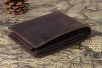 Money holder men bag leather brand removable card holder brown short bifold wallet TIDIG 4043
