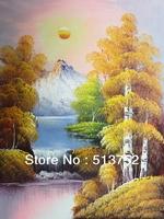 Oil Painting Hill Canvas Modem Wall Decor Acrylic Paint 4 Season Tree Sunrise